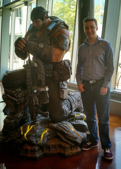 During the tour of the Epic Games office, we found this statue of Marcus Fenix. Of course, it warranted a picture.
